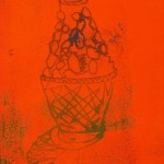 Bulbous Bottle ying monoprint by Lauren McKinley Renzetti