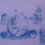 Blue Ovals Print by Lauren McKinley Renzetti