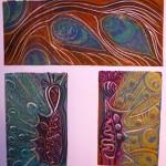 Peacock Triptych by Lauren McKinley Renzetti