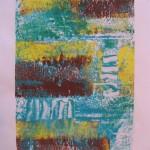 Turquoise Monoprint by Lauren McKinley Renzetti