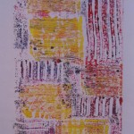 Yellow Squares Monoprint by Lauren McKinley Renzetti