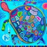 Group Turtle Painting 2011, corporate workshops by Lauren McKinley Renzetti