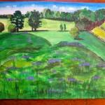 Carl's Farm, landscape in acrylic, by Lauren McKinley Renzetti