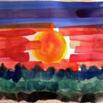 Sun Set in watercolour by Lauren McKinley Renzetti