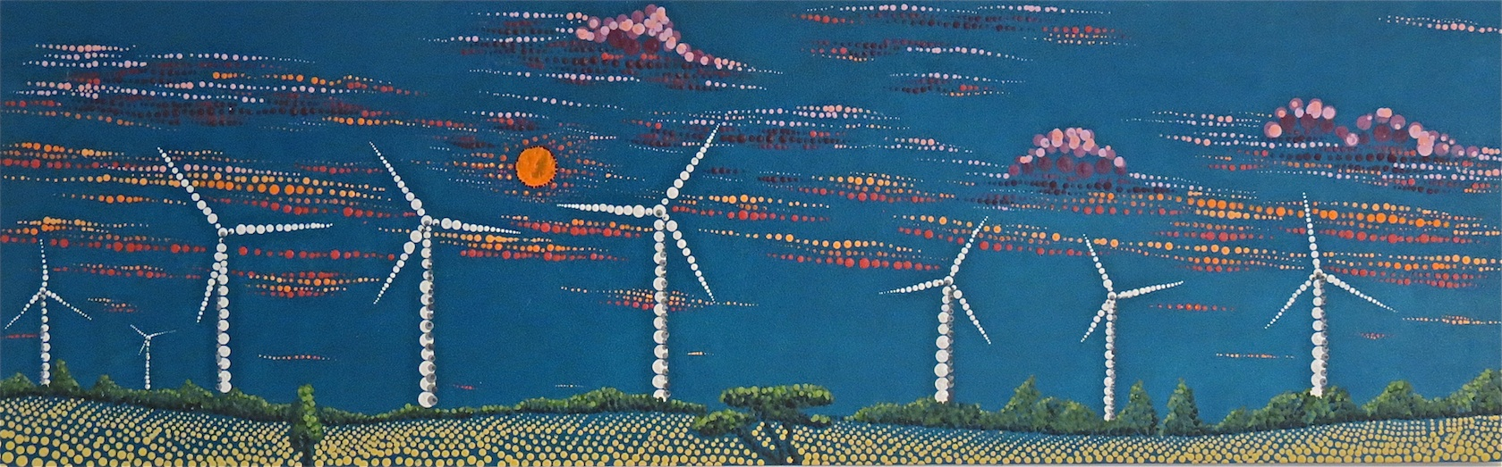 wind harvesters by lauren mckinley renzetti 36 x 12 , $350
